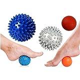 "MASSAGE BALLS - 3 Ball Set: Small Smooth Ball (6cm / 2.5""), Medium Spiky Balls ( 7.5cm / 3"") & Large Spiky Ball (9cm / 3.5""). Perfect for Muscle Recovery - Deep Tissue Massage, Trigger Point Acupressure, Plantar Fasciitis, Myofascial Release, Feet, Neck & Back Massage"