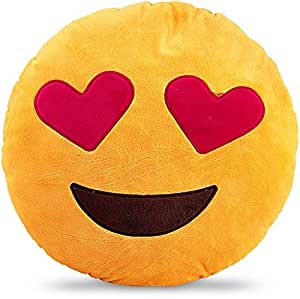 Emoji Smiley Emoticon Yellow Round Cushion Pillow Size 31 * 31 * 7 cm - Love In My Eyes