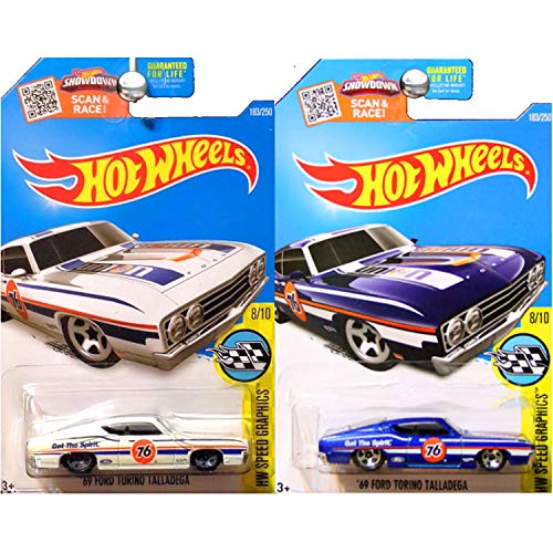 Hot Wheels 1969 Ford Torino Talladega Unocal 76 in Blue and White SET OF 2