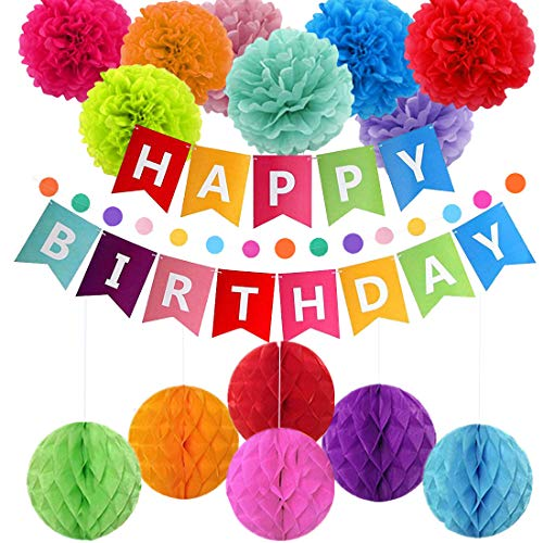 pushang - Birthday Decorations, Colorful Birthday Party Decoration for Adults Kids,Birthday Supplies - Happy Birthday Banner,Paper Garland,Lantern for -