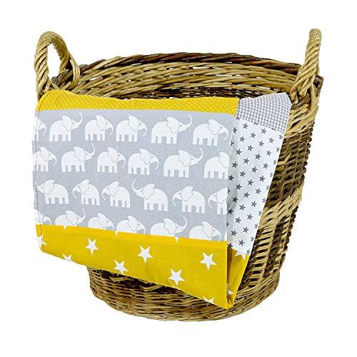 (Elephant Baby Blanket by ULLENBOOM   Star/Checkered Patchwork Design   27