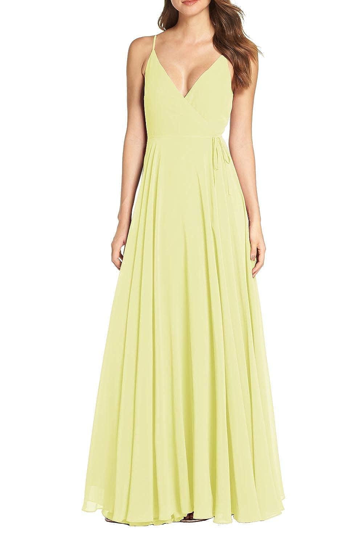 Yellow FeiYueXinXing Women's Sleeveless V Neck Evening Dresses Long Bridesmaid Ball Gown Prom Skirt