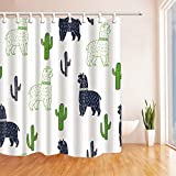 Cute Shower Curtains Joe&Lory 72 Inches Green Shower Curtains,With Cute Cactus And Camel Mildew Resistant, Polyester Fabric Shower Curtain Set with Hooks,Green and Blue