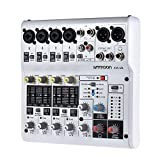 ammoon AM-6R 8-Channel Sound Card Digital Audio Mixer Mixing Console Built-in 48V Phantom Powered by 5V Power Bank with Power Adapter USB Cables for Recording DJ Network Live Broadcast Karaoke