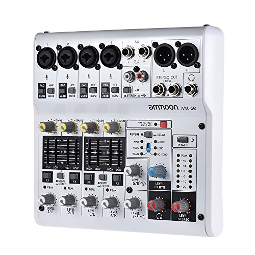 ammoon 8 channel sound card digital audio mixer mixing console built in 48v phantom power with. Black Bedroom Furniture Sets. Home Design Ideas