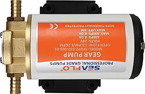 SEAFLO 24V 3.2GPM 12LPM Low Pressure Electric Gear Pumps for Water Diesel Oil Lubricant Transfer - Bronze Transfer Pump
