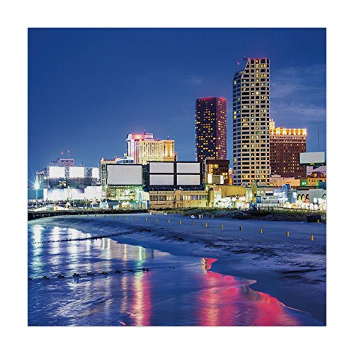 iPrint Polyester Square Tablecloth,City,Resort Casinos on Shore at Night Atlantic City New Jersey United States,Violet Blue Pink Yellow,Dining Room Kitchen Picnic Table Cloth Cover,for Outdoor Indoor -
