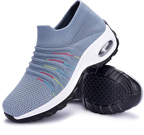 ANLUKE Women's Walking Running Shoes Slip On Air Cushion Platform Mesh Breathable Tennis Sock Sneakers