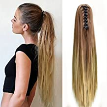 "Neverland Beauty 20""(50cm) Ombre Two Tone Long Straight Clip in/on Wavy Ponytail Pony Tail Hair Extension Hairpiece Claw 30#/25#"