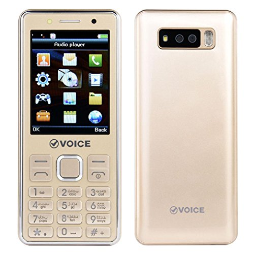 GSM Cell Phone English 0.3MP Camera Keyboard 2500mAh Battery Dual Sim With Strong LED Light for Kids or The old man (Gold) ()