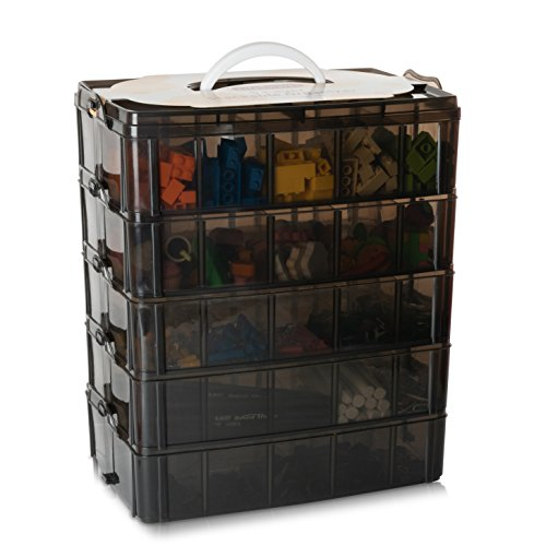 LifeSmart Stackable Storage Container Black 50 Adjustable Compartments - Store More Than All Other Cases - Compatible with Lego Dimensions - Shopkins - Littlest Pet Shop - Arts and Crafts -