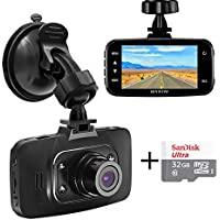 """Senwow Car Dash Cam with 32GB Card, 1080P Full HD Dashboard Camera Recorder 2.7"""" LCD 3-Lane Wide Angle On Dash Video Driving DVR with G-Sensor, Loop Recording, Night Vision, Parking Monitor, WDR"""