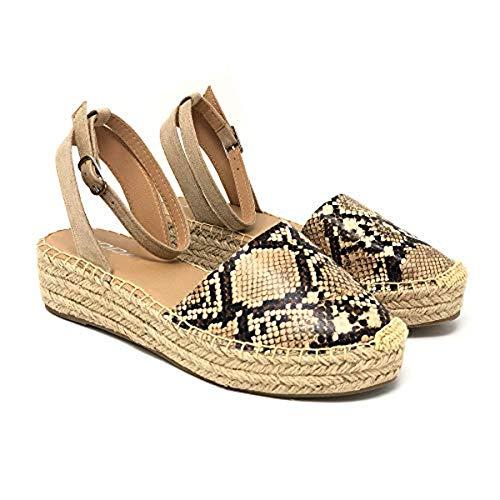 SODA Women's Open Toe Ankle Strap Espadrille Sandal (7.5, Fiesta-Snake) ()