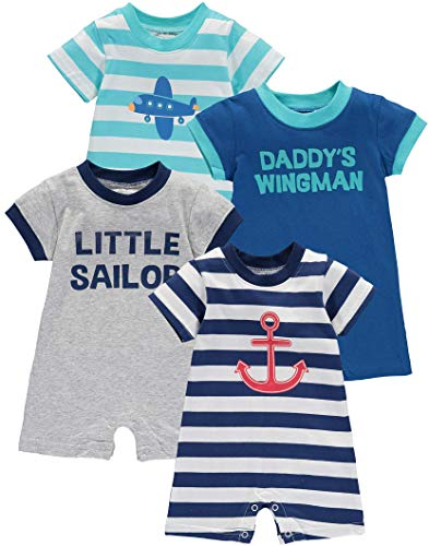 Wan-A-Beez Baby Boys' Multi Pack Graphic Short Sleeve Romper (0-3 Months, Airplane/Sailor - 4 Pack)