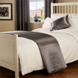 Passion Quilted Silver Bed Runner - Satin Silk Look One Size