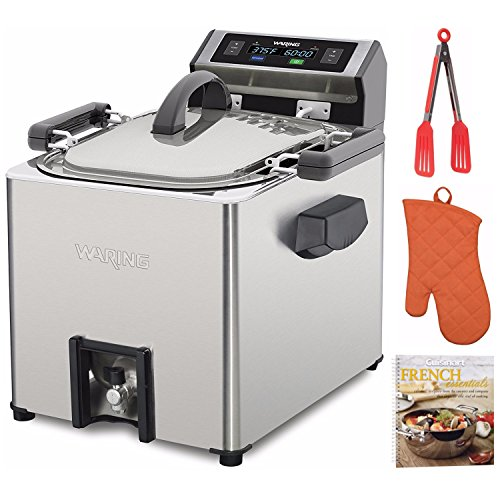 Waring TF250WSFR Electric Rotisserie Turkey Fryer and Deep Fryer Steamer + Free Cookbook, Oven Mitt and Tongs