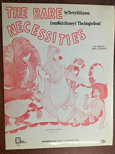 THE BARE NECESSITIES (1964 Terry Gilkyson SHEET MUSIC) pristine condition, from the Walt Disney film THE JUNGLE BOOK with great cover art ()