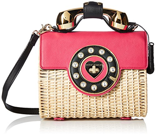 Betsey Johnson Wicker Color Phone Bag, - Chain Flap Betsey