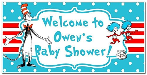 Dr. Seuss Cat in the Hat Baby Shower Banner Personalized Party Backdrop Decoration -