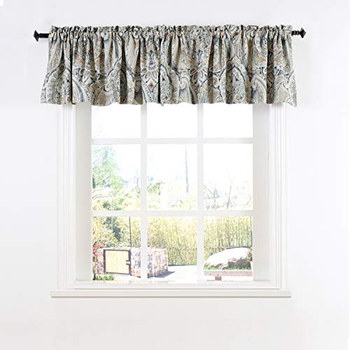 Cosics Thermal Valance Curtains, 1pcs Energy Effective Noise Reducing Short Window Curtain Drapes, W52 by L18 Inch Retro Window Treatment Blackout Curtain Panels for Kitchen Home Decor