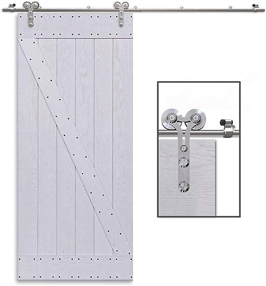 CCJH 9.6FT-292cm Bypass Quincaillerie Kit de Rail Roulette pour Porte Coulissante Ensemble Industriel Hardware kit pour Deux Portes Suspendue en Bois