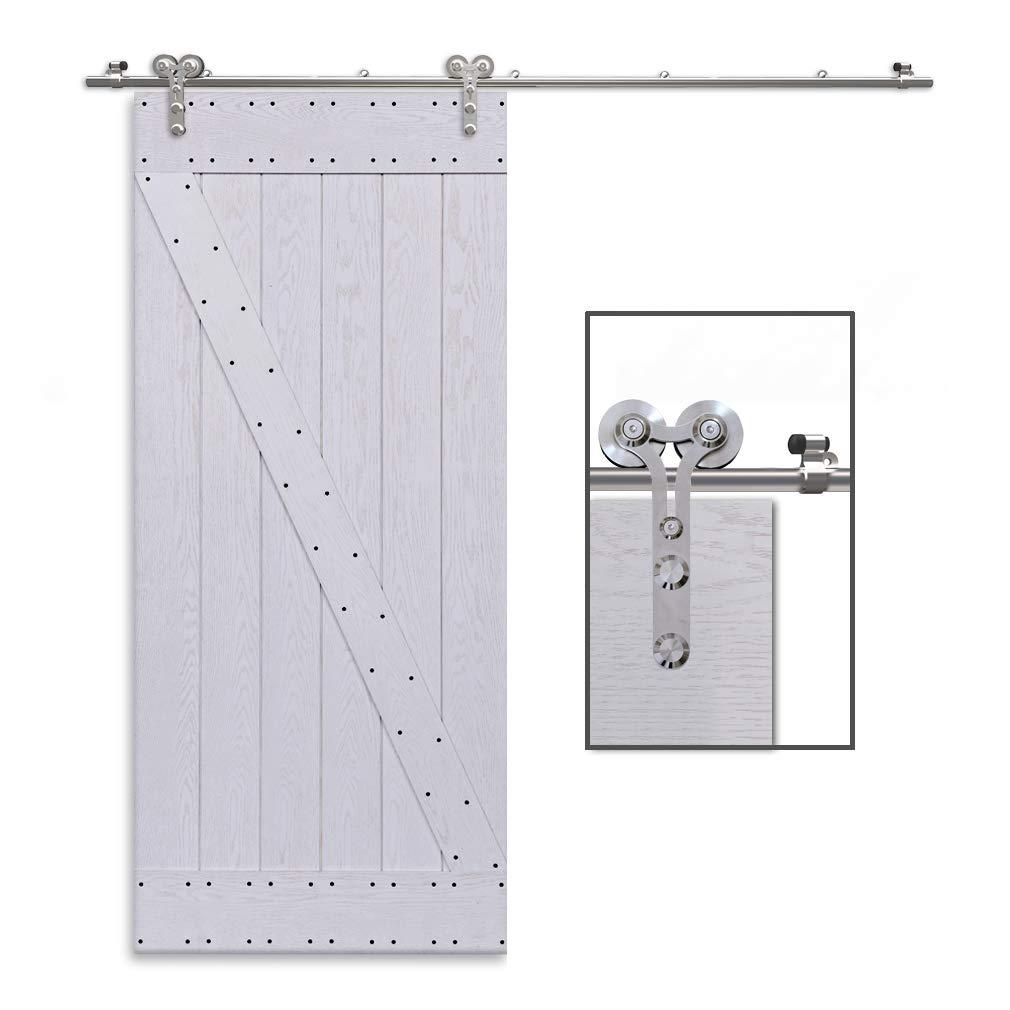 CCJH 5.5FT-168cm Acier Inoxydable Quincaillerie Kit de Rail Roulette pour Porte Coulissante Ensemble Industriel Hardware kit pour Une Porte Suspendue en Bois