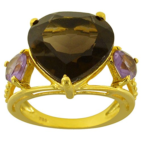 ORCHID JEWELRY MFG INC 12.30 Ct 925 Sterling Silver Heart Shaped Brown Smoky Quartz Ring for Women: A Cute and Simple Birthday Gift for Sister: Ring