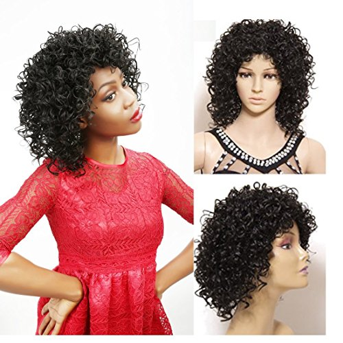 [Nadula New Fashion Women's Full Short Curly Wavy Hair Wig Glamour Wig+ Nadula Wig Cap (Curly Black)] (Curly Wigs For Black Hair)