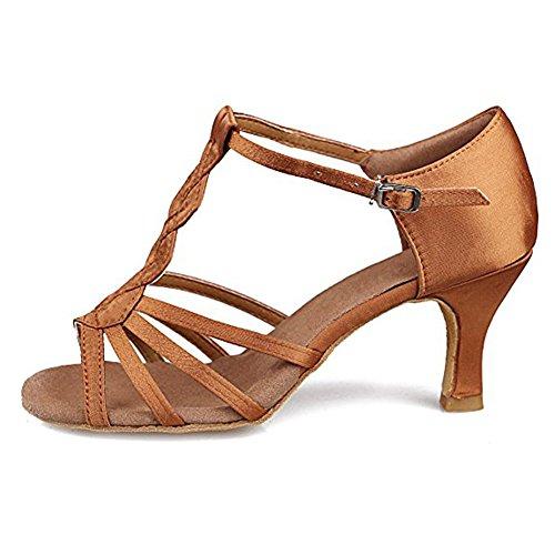 Sohlen High Latin Frauen Ballsaal Soft 7cmBrown Salsa Dance Heels Schuhe Schnalle Satin gxOZq