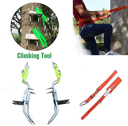 Tree Climbing Spikes with Climbing Harness Tree, Climbing Tool Shoes Sturdy Pole Stainless Steel with Sharp Claws Climbing Tree Shoes Spikes for Hunting Grab Dig Bird Nest Picking Fruit