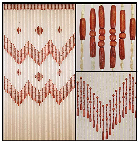 BeadedString 52 Strands Natural Wood Beaded Curtain 76 in High-Boho Door Beads-Bohemian Doorway Curtain-VenusBr