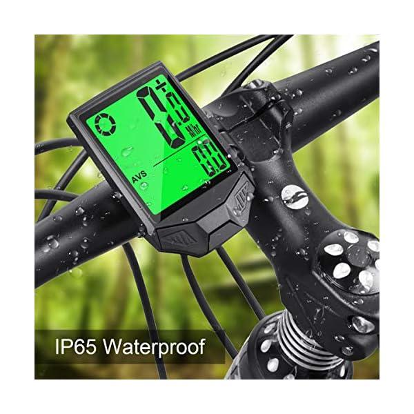 IREGRO Computer da Bicicletta, Grande Display Digitale LCD Contachilometri Bici Impermeabile Computer per Bici, 18… 4 spesavip