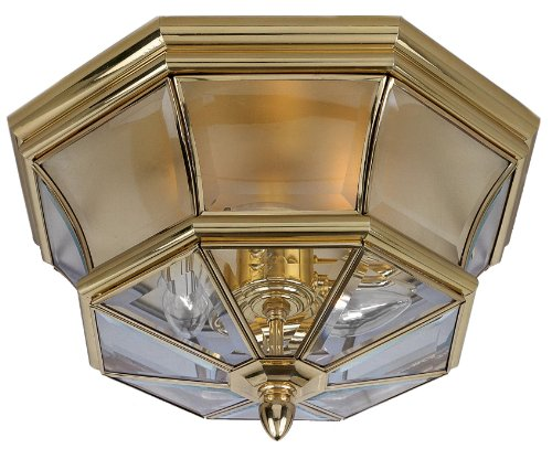 Flush Medium Polished Brass (Quoizel NY1794B Newbury 3-Light Outdoor Lantern, Polished Brass)