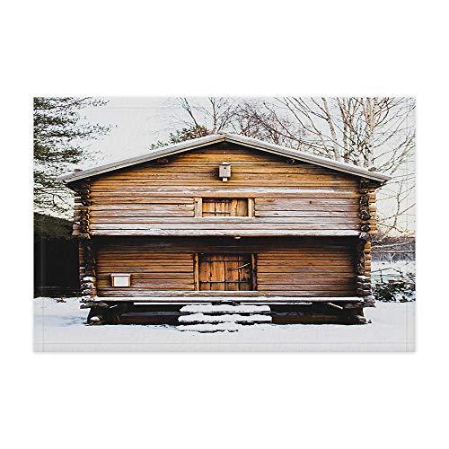 - Snow Chalet Bath Mat, Snow Covered Country Houses and Wooden Stairs, Non-Slip Doormat Floor Entryways Outdoor Indoor Front Door Mat, Kids Bath Mat, 15.7X23.10In, Bathroom Accessories