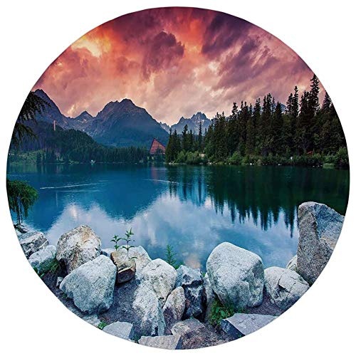 Round Rug Mat Carpet,Outdoor,Lake Forest Mountains National Park Slovakia Europe Dramatic Overcrast Sky Idyllic,Multicolor,Flannel Microfiber Non-Slip Soft Absorbent,for Kitchen Floor Bathroom]()