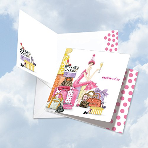 JQ5061BDG Jumbo Birthday Square-Top Card: Excess-orize Your Day Featuring A Woman Surrounded By Gifts On Her Birthday, with Envelope (Extra Large Size: 8.25