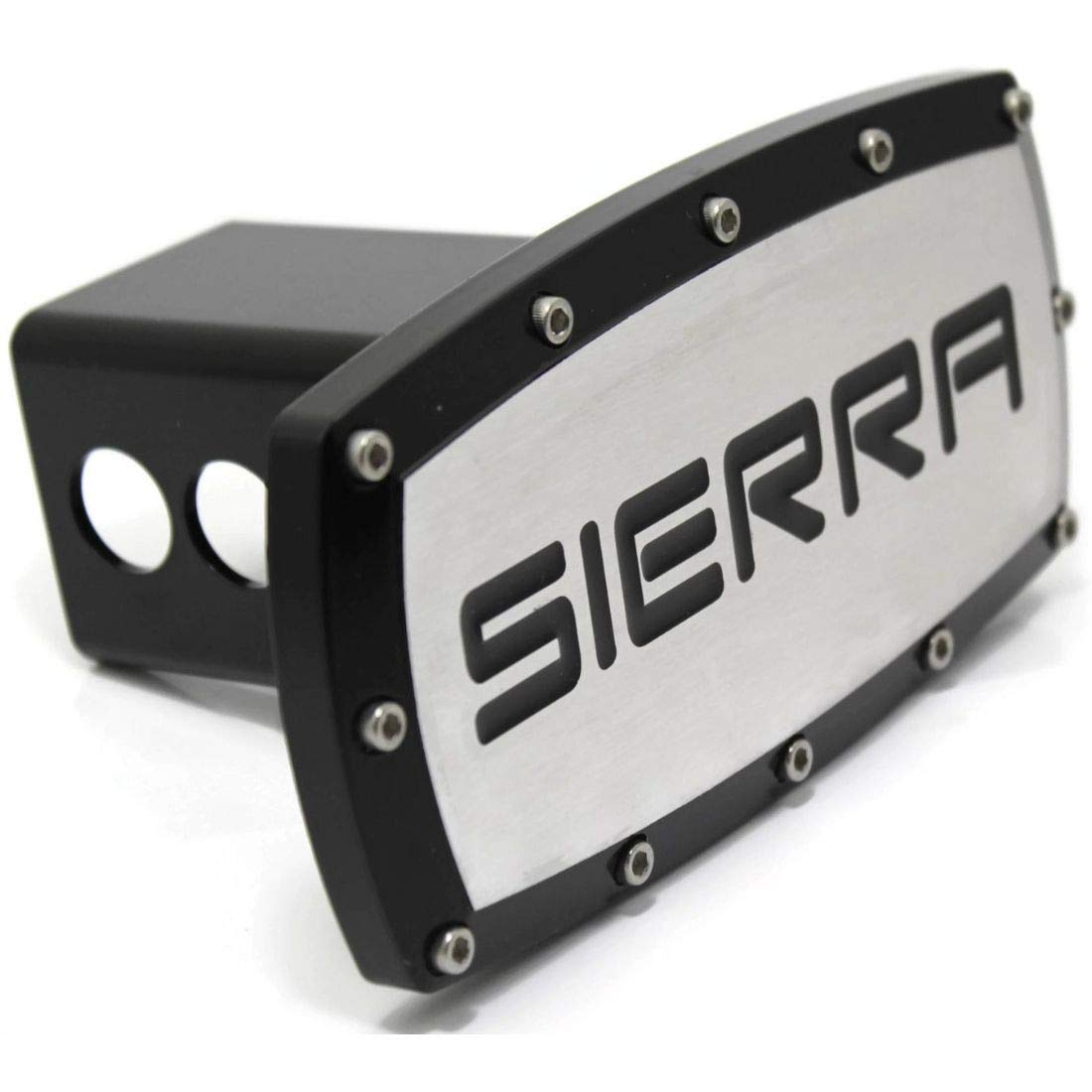 GMC Sierra Billet 2 Tow Hitch Cover Plug Engraved Billet Black Powder Coated