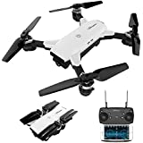 Amazingbuy - Selfie Mini RC Drone With Camera Foldable RC Helicopter 2.4G 4CH 6-Axis Real-Time Quad-copter WIFI FPV Drone (Camera 2MP Wide Angle)