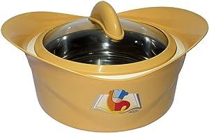 Milton Regalia Glass Lid, 1500ML Elegant Shaped Food Warmer, Insulated Casserole (Yellow)