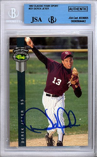 Derek-Jeter-Signed-1992-Classic-Four-Sport-Rookie-Card-231-New-York-Yankees-Vintage-JSA-Authentication-Baseball-Collectible
