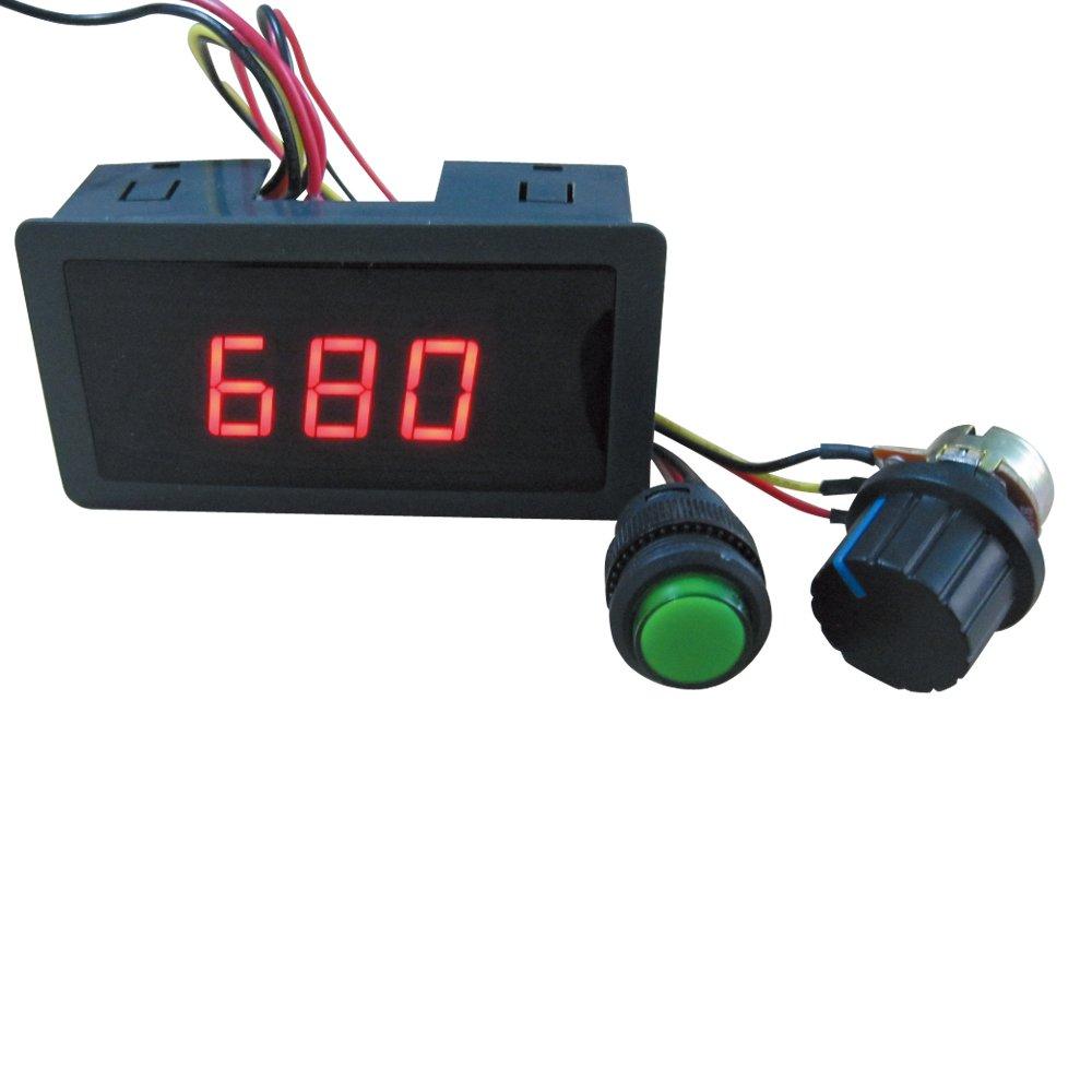 TWTADE/6V 12V 24V Digital Display LED DC Motor Speed Controller PWM Stepless Speed Control Switch HHO Driver - Black CCM5D