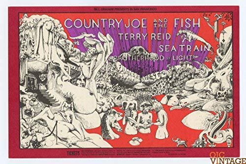 (Bill Graham Postcard 149 Ad Back Country Joe & the Fish 1968 Dec)