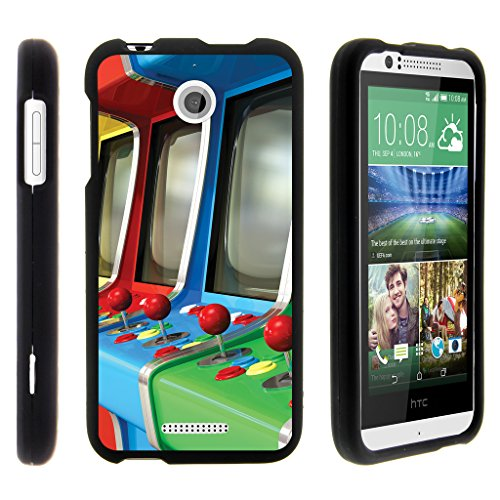 TurtleArmor | Compatible with HTC Desire 510 Case [Slim Duo] Smooth Matte Grip Hard 2 Piece Shell Compact Snap On Cover on Black Gaming - Arcade Games (Boost Htc 510 Desire Phone Cases)