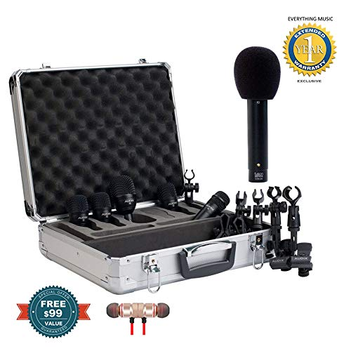 Audix FP5 Drum Mic Pack with Free F9 Small Diaphragm Condenser Microphone includes Free Wireless Earbuds - Stereo Bluetooth In-ear and 1 Year Everything Music Extended Warranty