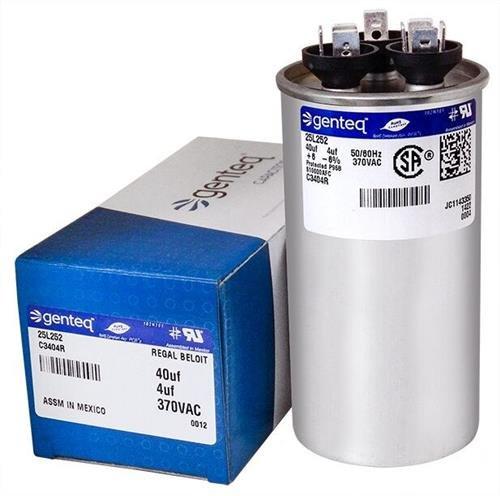 40 25L252 4 uF MFD x 370 VAC Genteq Replacement Dual Capacitor Round # C3404R Lennox PartsPlus