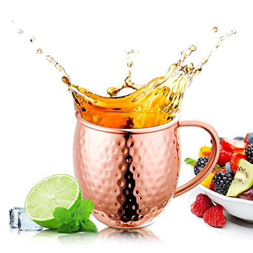 Prateek Exports Moscow Mule Copper Mug - Pure Solid Copper Mugs, 16oz, Unlined Handcrafted Hammered Copper Mugs