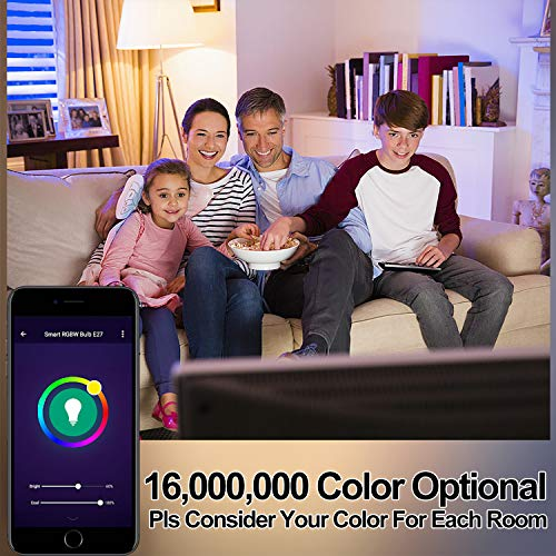 OHLUX Smart WiFi LED Light Bulbs Compatible with Alexa and Google Home (No Hub Required), RGBCW Multi-Color, Warm to…
