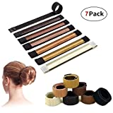 Hair Bun Maker - 7 PCS Brown Easy Making Natural Look Firmly hold Synthetic Hair Material Ballet Bun Disks Tool with Fle for Women, Girls, Kids (7 colors)