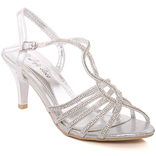 Unze New Women Ladies 'Groovy' Metallic Diamante Embellished Ankle Strap Peep Toe Low Mid Kitten Heel Evening, Wedding, Prom Party Shoes Sizes 3-8 - A-183