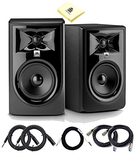 JBL 306P MKII 6.5 Inch Powered Studio Monitor 2-Way Studio Reference Powered Speaker (Set) with 2X Senor Microphone Cable 2X TRS Balance Cable 1x Adapter Cable and Zorro Polishing Cloth
